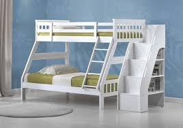 Over Full Jason White Solid Wood Bunk Bed Bookcase Ladder - Solid wood bunk bed