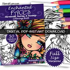 Instant Home Design Download by Pdf Enchanted Faces Full Size Coloring Book Instant Download