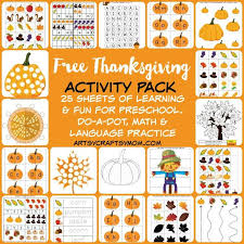 free thanksgiving preschool activity pack artsy craftsy