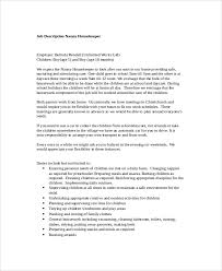 Sample Resume For Nanny Housekeeper by Nanny Responsibilities On Resume Enwurf Csat Co