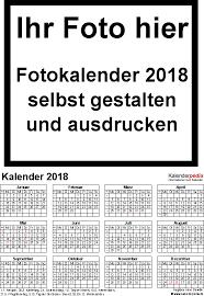 Kalender 2018 Gestalten Kostenlos Fotokalender 2018 Als Word Vorlagen Zum Ausdrucken Kostenlos