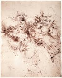 Leonardo Da Vinci Drapery Study Of Five Grotesque Heads C 1494 Leonardo Da Vinci