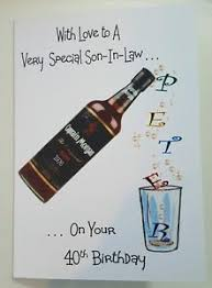 personalised 40th birthday card son in law bottle of rum dad