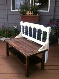 Bench Supports Old Coffee Table Vintage Old Headboard Add Some Shelf Supports