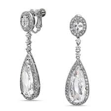 clip on earings cz teadrop bridal chandelier earrings back clip on