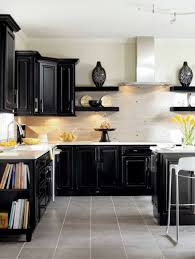 awesome kitchen with black kitchen cabinets colors and white