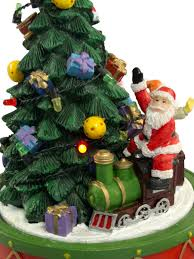 santa on train rotating around christmas tree ornament 17cm