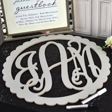 monogrammed guest book wedding guest signature scalloped wood monogram