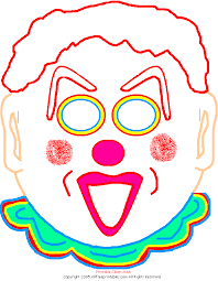 free printable clown mask color paper clown mask print