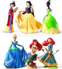 6pcs set princess snow white mermaid merida princess dolls cupcake