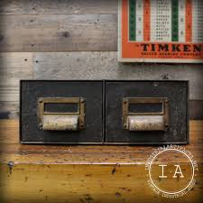 Industrial File Cabinet Vintage Industrial Art Metal File Cabinet Card Catalogue Storage