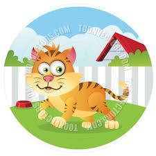 Backyard Cartoon Cartoon Happy Cat In Backyard By Cartoongalleria Toon Vectors