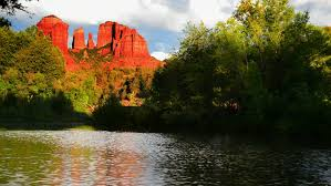 Cathedral Rock Reflections At Sunset Red Rock Crossing Sedona Az Usa Sept 14 2014 A Distant Cathedral Rock Reflects
