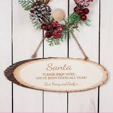 personalised santa please stop here wooden sign oh my gift