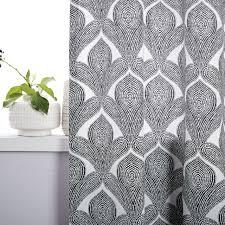 cotton canvas fleur printed curtain stone white west elm