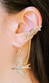 earrings with chain ear cartilage ear bronze cartilage piercing earrings ear cuff 3