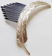 hair broach chanel gold feather runway 20cm hair brooch