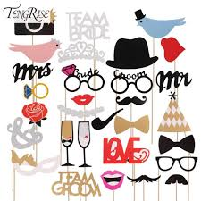 fengrise mr mrs just married funny photo booth props bride groom