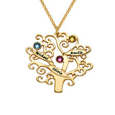 gold plated family tree necklace with birthstones mynamenecklace