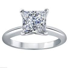 1 carat princess brilliant diamante solitaire engagement ring in