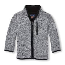 toddler boys sleeve sherpa lined marl zip sweater jacket