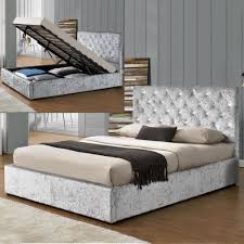 luxury storage ottoman bed frame silver crushed velvet fabric