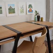 bureau bois acier pi16 bureau mural niveaux chene et acier noir design fry