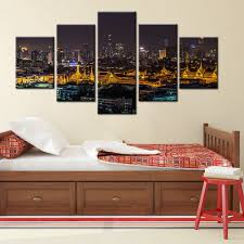 thailand bangkok night view scene picture landscape wall painting