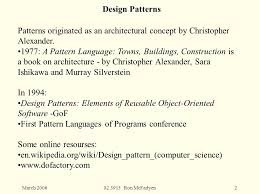 pattern language of program design march ron mcfadyen1 design patterns in software engineering a