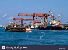 hma 85481 cranes loading cargo on to ship at cochin port kerala