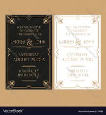 Wedding Invitation Cards Font Styles Wedding Invitation Card Art Deco Vintage Style Vector Image