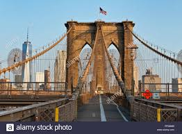 Brooklyn Flag The New York City Brooklyn Bridge Wooden Pedestrian Walkway With