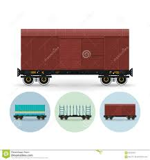 set of icons of different types of freight cars stock vector