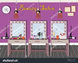 beauty salon interior design dressing tables stock vector
