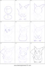 how to draw ninja pikachu from pokemon printable step by step