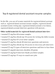 dental assistant resume example top8registereddentalassistantresumesamples 150516160909 lva1 app6892 thumbnail 4 jpg cb 1431792599