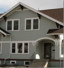 exterior color scheme greenish gray with brown roof and white