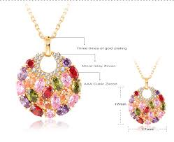 rose zircon necklace images Lzeshine new multicolor zircon gold plated stud earring necklace jpg