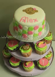 monkey baby shower cake and cupcakes all decorations are made baby