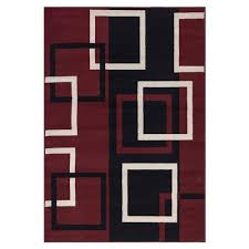 5x7 Area Rugs by Sweet Home Stores Clifton Collection Modern Boxes Design Dark Red