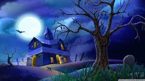 spooky house bats cat night full moon hallowmas halloween hd