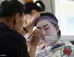 makeup design school kids perform traditional kabuki drama at outdoor kabuki theater