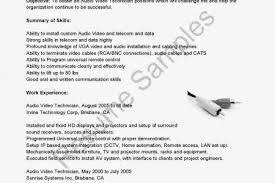 Cable Installer Resume Sample by Audio Visual Technicians Resume Examples Find The Best Audio