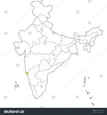 Goa Map Western State Goa On Map India Stock Vector 225878863 Shutterstock