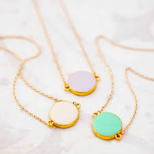 bridesmaid jewellery colourful enamel coin necklace by j s jewellery