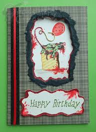 handmade painted horror zombie birthday card by possumpipcreations