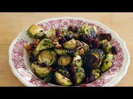 vegan roasted brussel sprouts with cranberries and walnuts