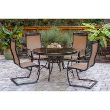 monaco 5 piece outdoor dining set with c spring chairs and glass