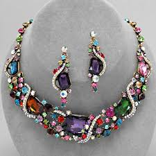 multi color stone necklace images Chunky multicolor crystal rhinestone stone gold tone formal jpg