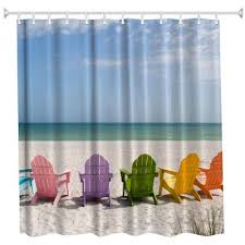 Polyester Shower Curtains Multicolored Chair Polyester Shower Curtain Bathroom Curtain